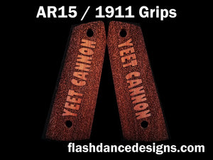 Walnut AR 1911 grips laser engraved with the text Yeet Cannon over a stippled background
