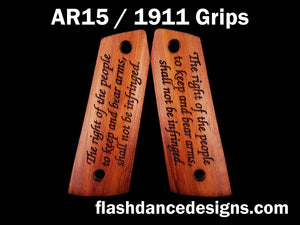 Walnut AR 1911 grips laser engraved with the Second Amendment to the US Constitution
