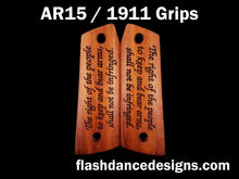 Load image into Gallery viewer, Walnut AR 1911 grips laser engraved with the Second Amendment to the US Constitution