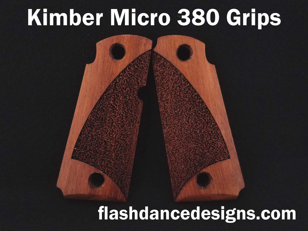 Walnut Kimber Micro 380 grips laser engraved with a partial stipple design