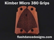 Load image into Gallery viewer, Walnut Kimber Micro 380 grips laser engraved with a partial stipple design