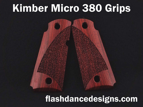 Bloodwood Kimber Micro 380 grips laser engraved with a partial stipple design