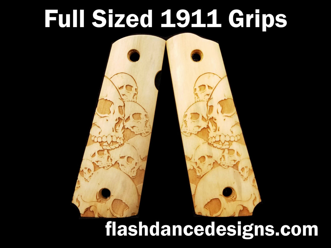 Holly full sized 1911 grips laser engraved with screaming skulls