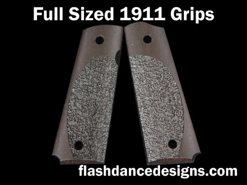 Brazilian ebony full sized 1911 grips laser engraved with a partial stipple design