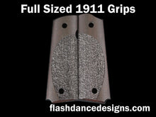 Load image into Gallery viewer, Brazilian ebony full sized 1911 grips laser engraved with a partial stipple design