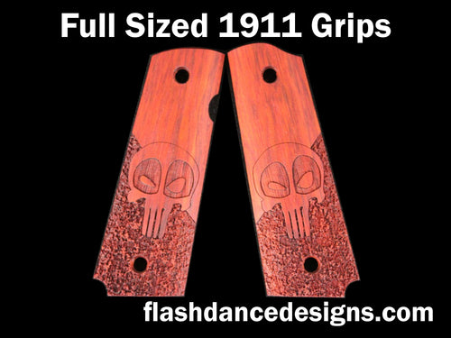 Bloodwood full sized 1911 grips laser engraved with a Deadpool Punisher skull over a partial stipple background