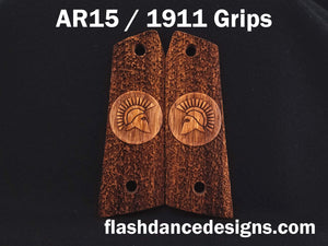 Zebrawood AR 1911 grips laser engraved with a Spartan Helm over a stippled background