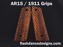Load image into Gallery viewer, Zebrawood AR 1911 grips laser engraved with three-dimensional snake scales
