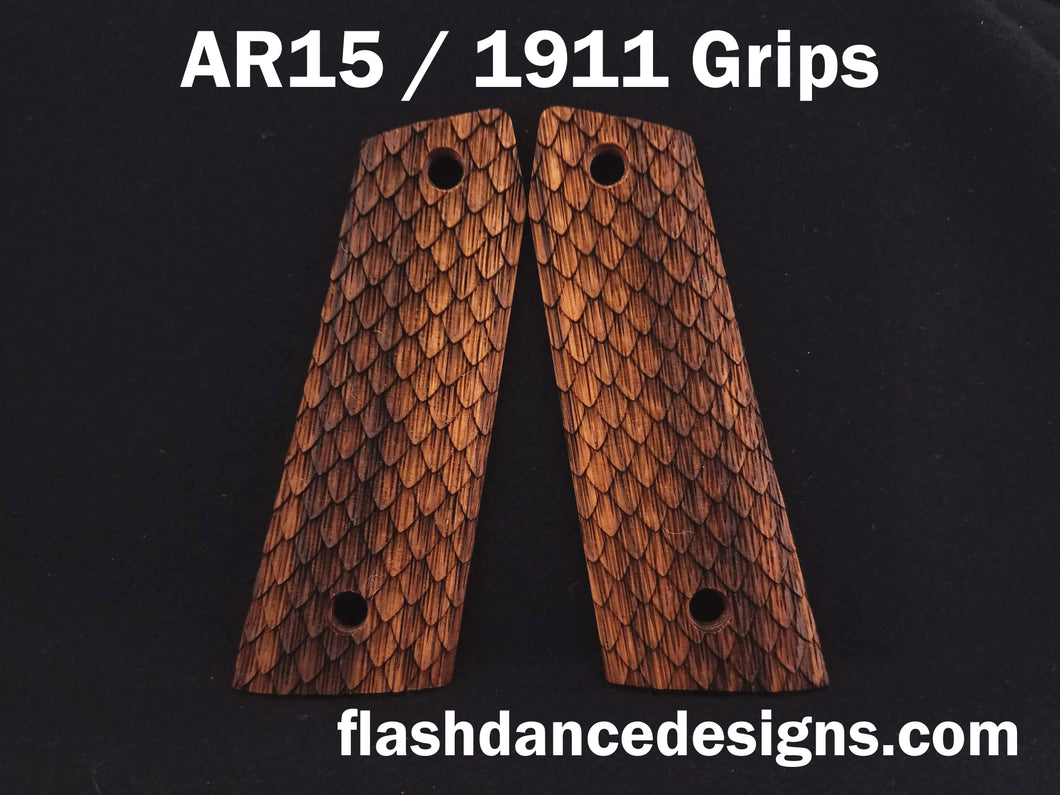 Zebrawood AR 1911 grips laser engraved with three-dimensional snake scales