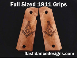 Maple full sized 1911 grips laser engraved with the Masonic Square and Compasses