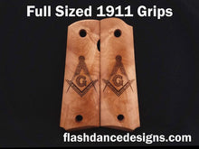 Load image into Gallery viewer, Maple full sized 1911 grips laser engraved with the Masonic Square and Compasses