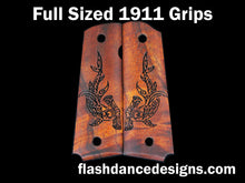 Load image into Gallery viewer, Koa full sized 1911 grips laser engraved with a tribal hammerhead shark
