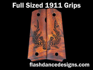 Koa full sized 1911 grips laser engraved with a tribal hammerhead shark