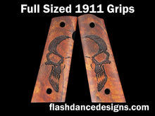 Load image into Gallery viewer, Koa full sized, full coverage 1911 grips laser engraved with a half-skull design