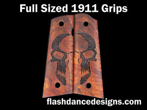 Koa full sized, full coverage 1911 grips laser engraved with a half-skull design