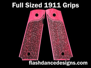 Purpleheart full sized 1911 grips laser engraved with a partial stipple design