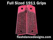 Load image into Gallery viewer, Purpleheart full sized 1911 grips laser engraved with a partial stipple design