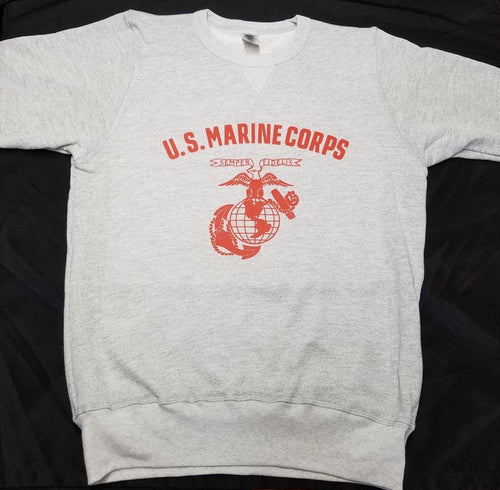 Reproduction of United States Marine Corps pre/WWII pt sweatshirt.  1936 USMC Eagle Globe and Anchor printed on a vintage cut French Terry sweat shirt.  Made in the US this is a USMC licensed item.