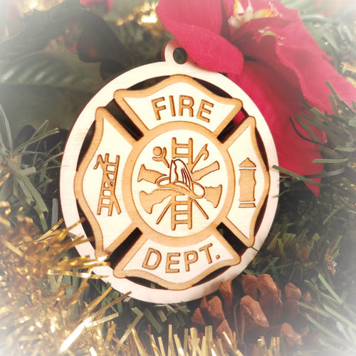 Laser engraved birch Christmas ornament featuring a fire fighter emblem in a Maltese cross.