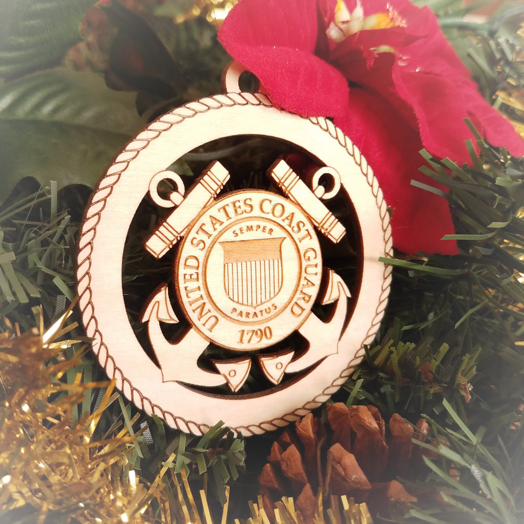 Laser engraved birch Christmas ornament featuring the United States Coast Guard (USCG) emblem