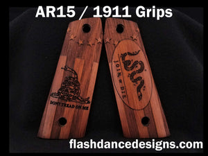 Walnut AR 1911 grips engraved with Don't Tread on Me and Join or Die designs over a colonial flag