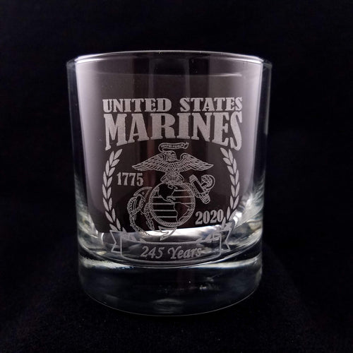 Glass tumbler or rocks glass laser engraved with a United States Marine Corps (USMC) 245th birthday commemorative design. Celebrate the Marine Corps birthday in style with this limited edition glass which will only be available until November 10, 2020.