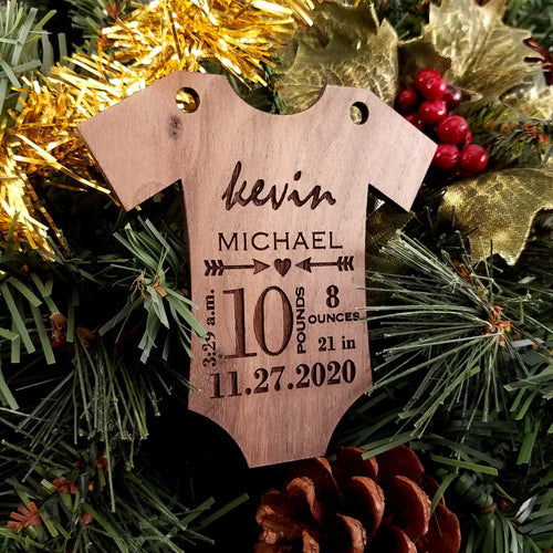Commemorate the new baby in your life with this darling holiday ornament. This one of a kind item makes a perfect gift any time of year.  Customized with the baby's first & middle name, birth weight & length, and date & time of birth. Available in maple, walnut or cherry woods.