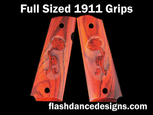 Cocobolo full sized 1911 grips laser engraved with a rose