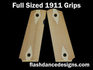 Boxwood full sized 1911 grips laser engraved with a classic double diamond design