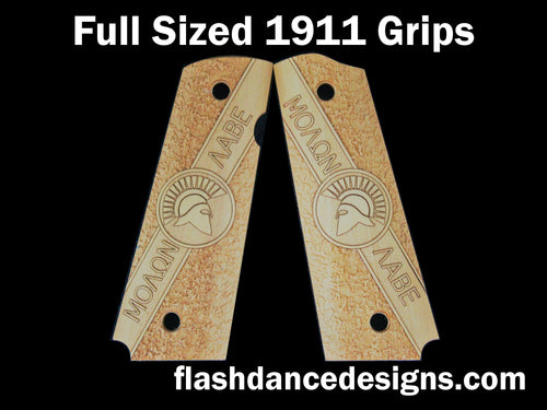Boxwood full sized 1911 grips engraved with Molon Labe and a Spartan Helm over a stippled background