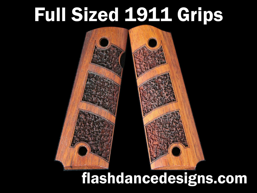 Walnut full sized 1911 grips laser engraved with a partial stipple design