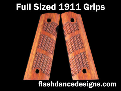 Bloodwood full sized full coverage 1911 grips laser engraved with a partial diamond checkering design