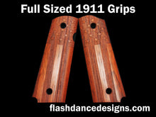 Load image into Gallery viewer, Walnut full sized 1911 grips laser engraved with the US flag