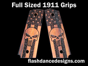 Walnut full sized 1911 grips laser engraved with the Punisher skull over a stippled US flag
