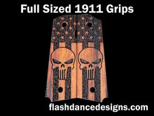 Load image into Gallery viewer, Walnut full sized 1911 grips laser engraved with the Punisher skull over a stippled US flag