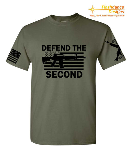 This tee shirt features a large front design with an M4 over an American flag with the text