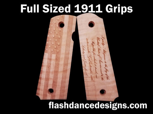 Maple full sized 1911 grips laser engraved with a US Flag and the Pledge of Allegiance