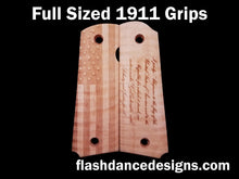 Load image into Gallery viewer, Maple full sized 1911 grips laser engraved with a US Flag and the Pledge of Allegiance