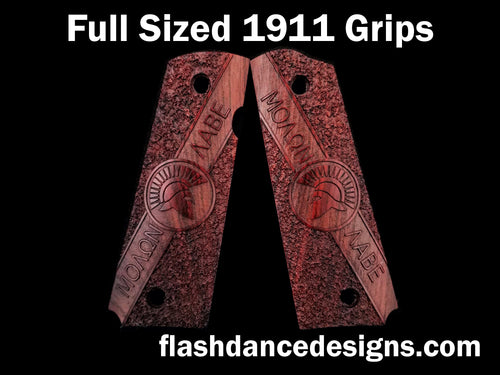 Cocobolo full sized 1911 grips engraved with Molon Labe and a Spartan Helm over a stippled background