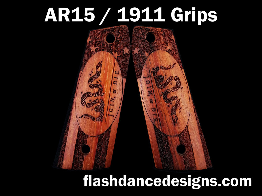 Walnut AR 1911 grips laser engraved with the Join or Die design over a stippled colonial US flag
