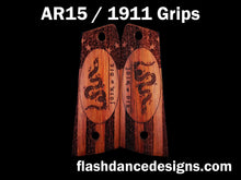 Load image into Gallery viewer, Walnut AR 1911 grips laser engraved with the Join or Die design over a stippled colonial US flag