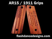 Load image into Gallery viewer, Walnut AR 1911 grips laser engraved with a US Flag and the Pledge of Allegiance