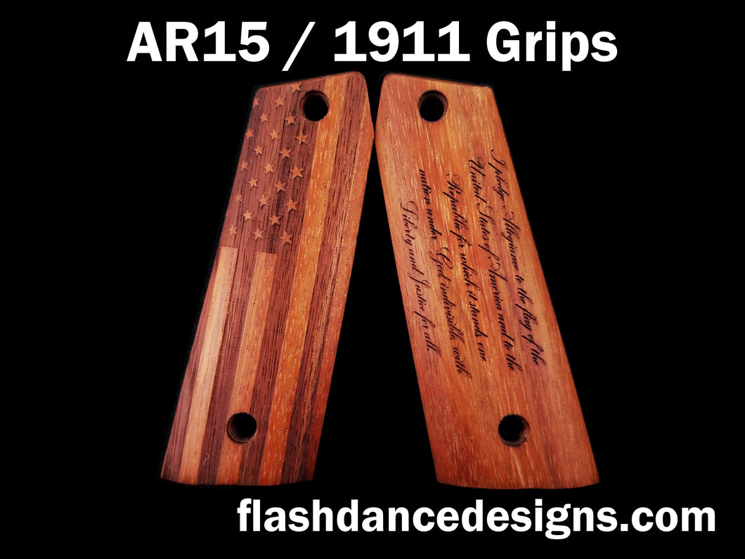 Walnut AR 1911 grips laser engraved with a US Flag and the Pledge of Allegiance
