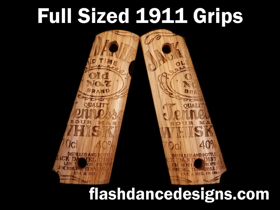 White oak full sized 1911 grips laser engraved with one of our favorite whiskey labels