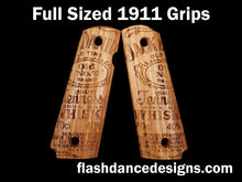 Load image into Gallery viewer, White oak full sized 1911 grips laser engraved with one of our favorite whiskey labels