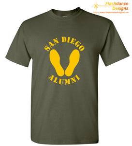 Printed representation of the yellow footprints painted on the deck outside of the receiving barracks onboard MCRD San Diego, Ca.  Features the Eagle Globe and Anchor on the back. Printed on US made heavy cotton long sleeved tees of military green or red