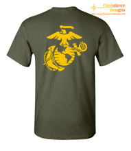 Load image into Gallery viewer, Printed representation of the yellow footprints painted on the deck outside of the receiving barracks onboard MCRD Parris Island, SC.  Features the Eagle Globe and Anchor on the back. Printed on US made heavy cotton tees of military green or red