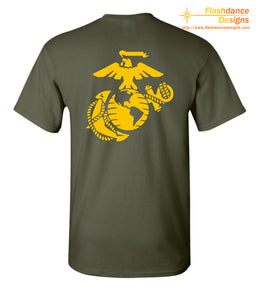 Printed representation of the yellow footprints painted on the deck outside of the receiving barracks onboard MCRD Parris Island, SC.  Features the Eagle Globe and Anchor on the back. Printed on US made heavy cotton tees of military green or red