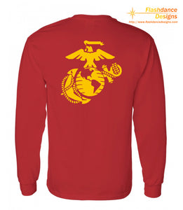 Printed representation of the yellow footprints painted on the deck outside of the receiving barracks onboard MCRD Parris Island, SC. Features the Eagle Globe and Anchor on the back. Printed on US made heavy cotton long sleeved tees of military green or red