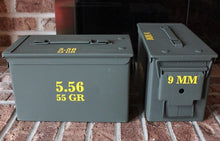 Load image into Gallery viewer, An example of high quality exterior grade vinyl decals applied to ammo cans to clearly identify their contents.